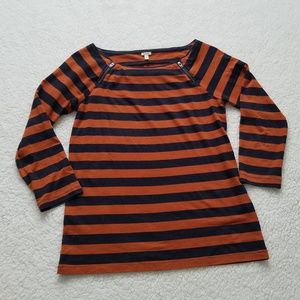 J. Crew Rust & Navy Painter Striped Zipper Tee